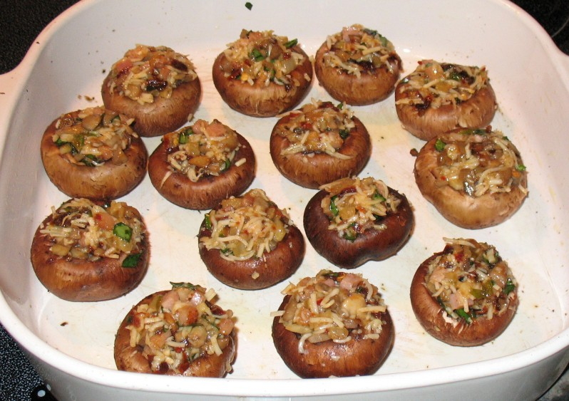 Italian Stuffed Mushrooms (before baking) | Grabbing the Gusto