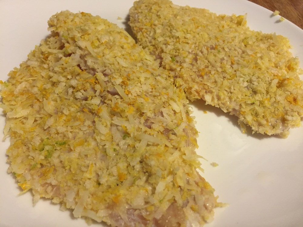 coconut citrus tilapia ready for the pan