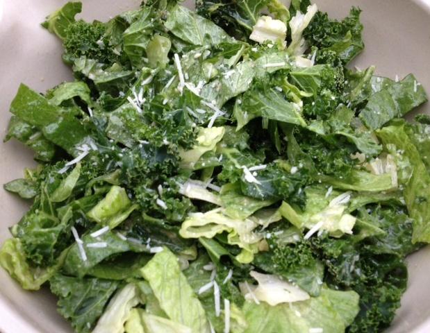 Kale Romaine Caesar Salad recipe | Grabbing the Gusto