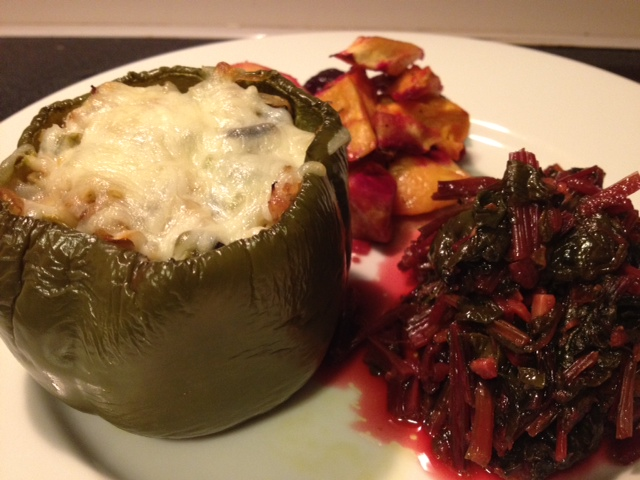 stuffed green bell peppers with sausage brown rice cheese