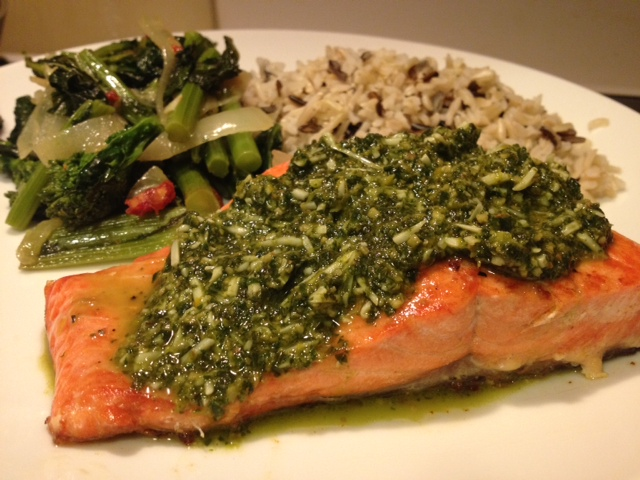 Salmon with Citrus Basil Pesto recipe | Grabbing the Gusto