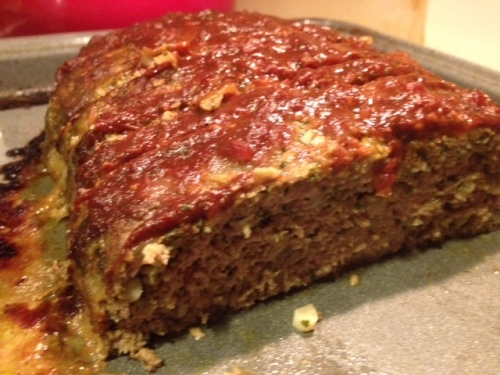 Turkey Pesto Meatloaf with Tomato Sauce