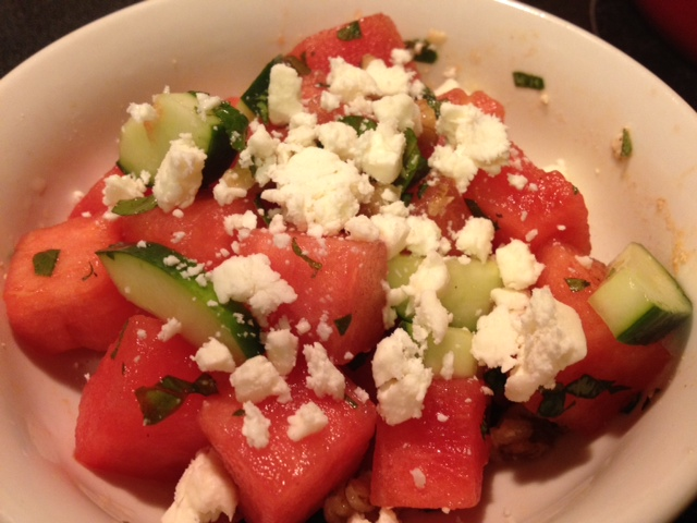 watermelon cucumber basil mint feta walnut salad recipe