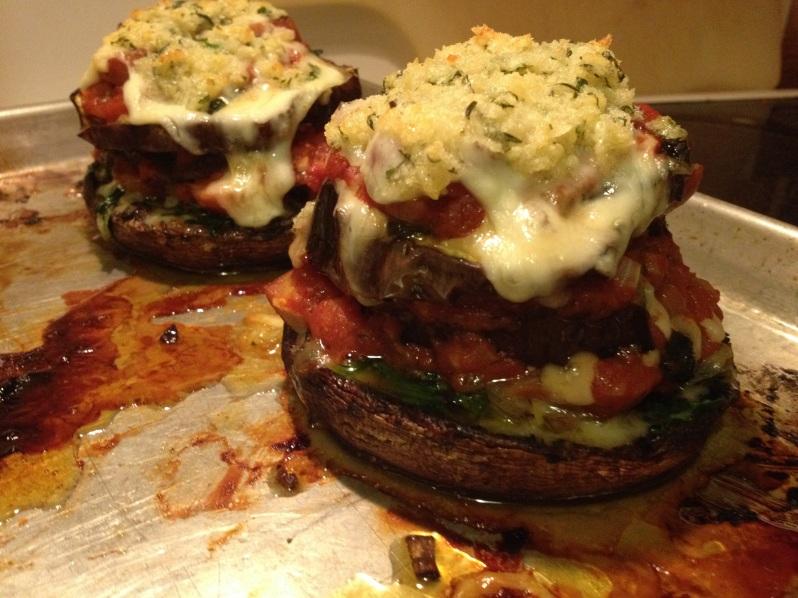 Portobello Mushrooms Stuffed with Prosciutto, Provolone & Spinach | Grabbing the Gusto