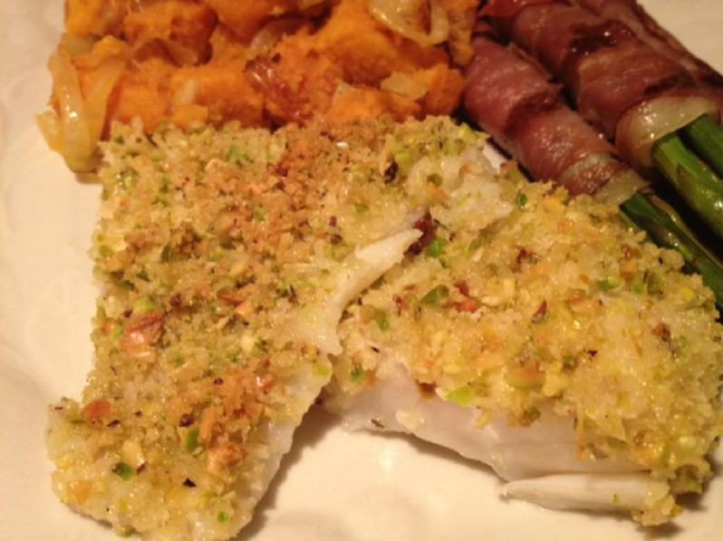 Cod with Pistachio-Crumb Coating recipe| Grabbing the Gusto