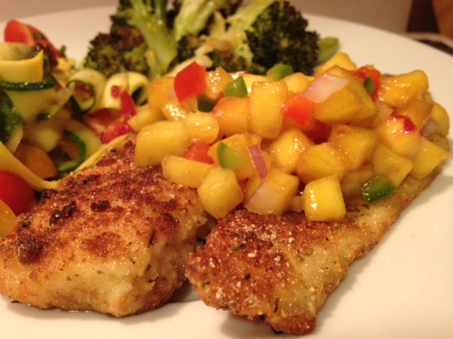 Tilapia with Peach Salsa | Grabbing the Gusto | Try the peach salsa recipe on fish, chicken or pork for your next dinner.
