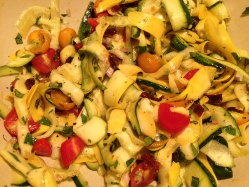 """Summer Squash """"Pasta"""" with Tomatoes and Herbs from Grabbing the Gusto"""