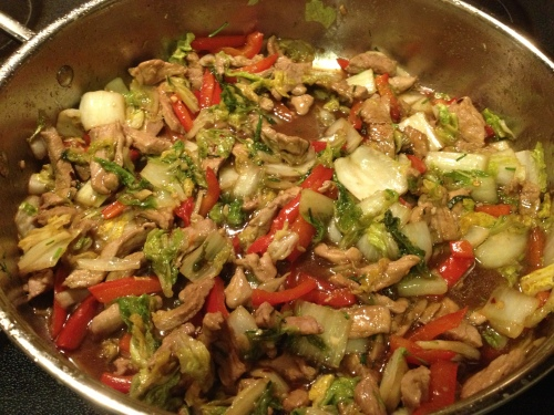 Hoisin Pork Tenderloin Stir-Fry with Napa Cabbage recipe from Grabbing the Gusto