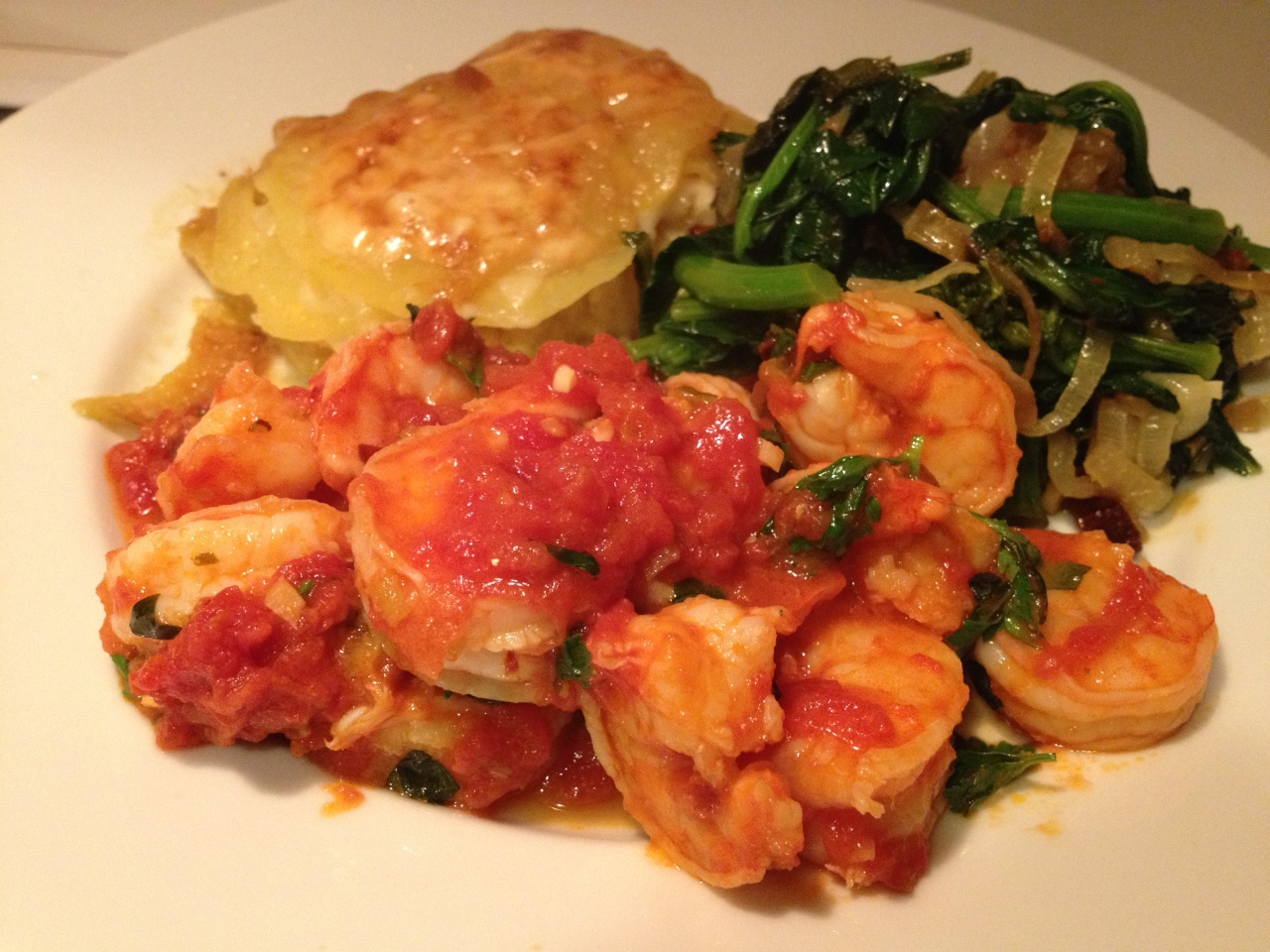 Shrimp fra Diavolo with Broccoli Rabe and Scalloped Potatoes