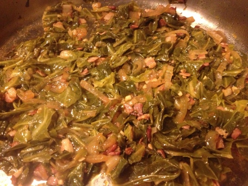 Smoky, Spicy Collard Greens recipe from Grabbing the Gusto