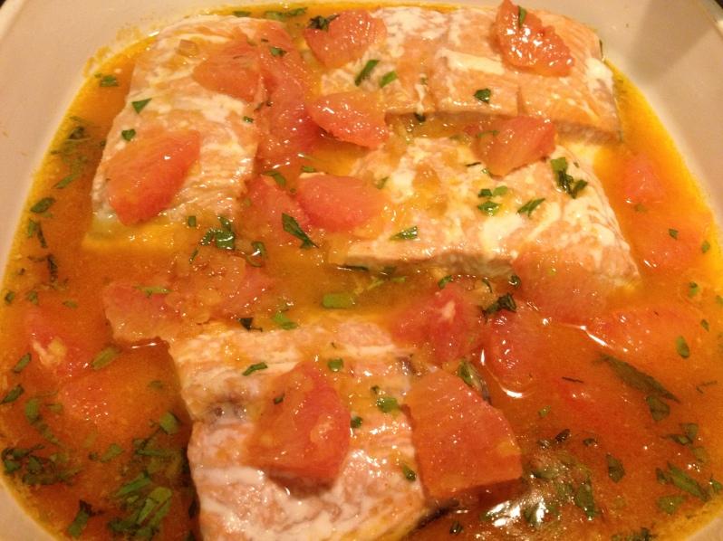 Roasted Salmon with Shallot Grapefruit Sauce | Grabbing the Gusto