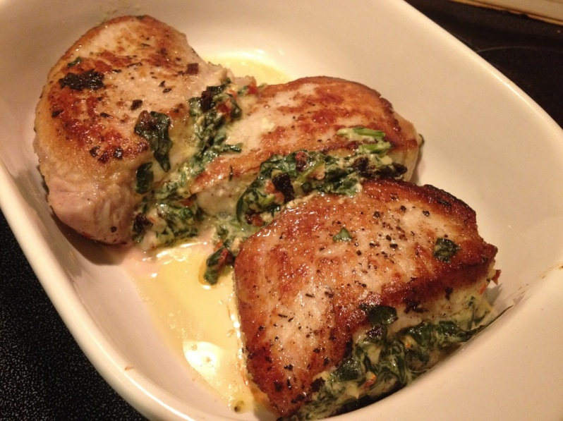 Pork Chops Stuffed with Sun-Dried Tomatoes and Spinach | Grabbing the Gusto