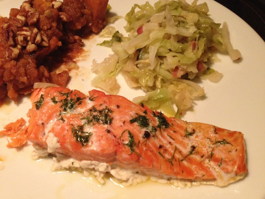 Slow Roasted Salmon with Cabbage, Bacon and Dill