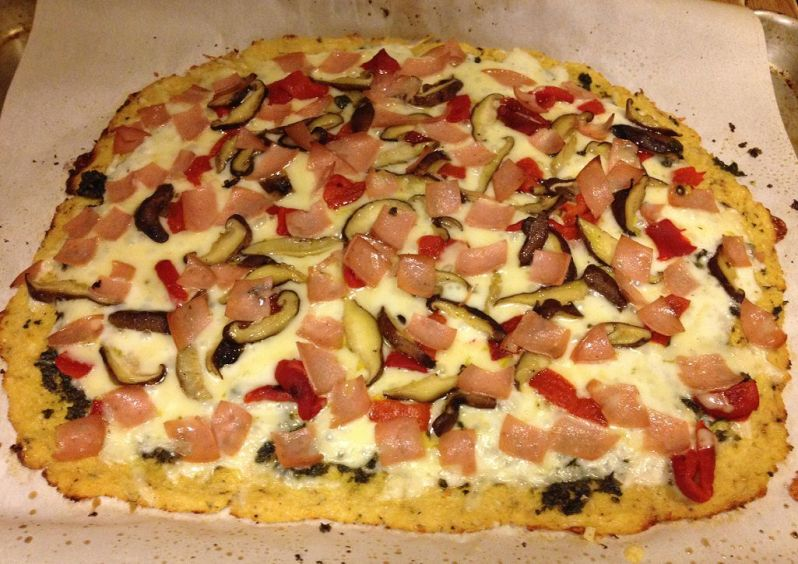 Mortadella, Red Bell Pepper & Shiitake Mushroom Cauliflower Crust Pizza | Grabbing the Gusto
