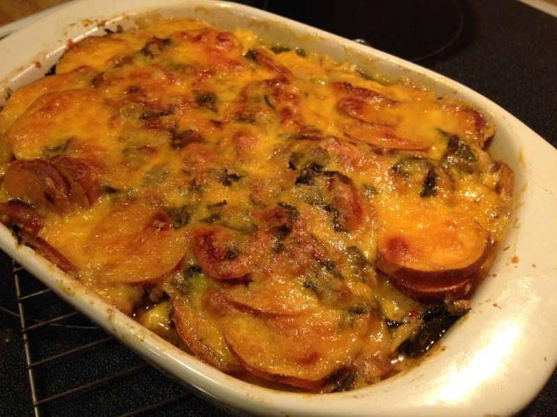 Kale and Sweet Potato Gratin | Grabbing the Gusto