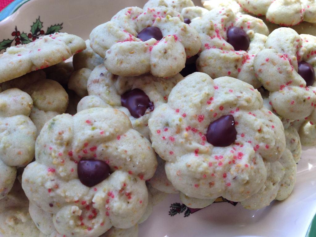Pistachio Spritz Cookies | Grabbing the Gusto