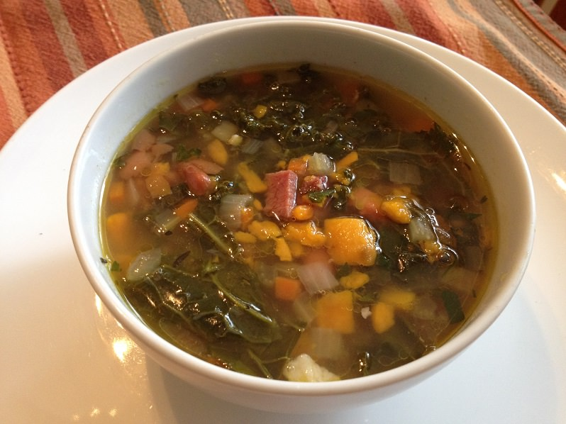 Ham Bone, Beans & Greens Soup | Grabbing the Gusto