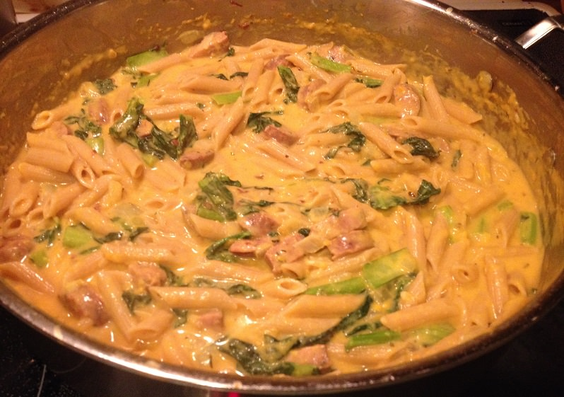Smoky Sweet Potato Cream Pasta with Sausage and Kale recipe | Grabbing the Gusto