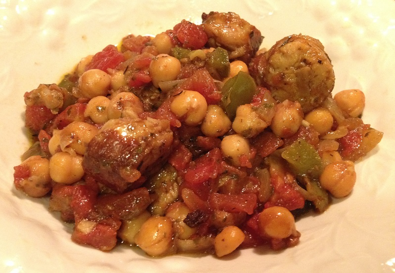 Italian Sausage and Chickpea Skillet recipe | Grabbing the Gusto