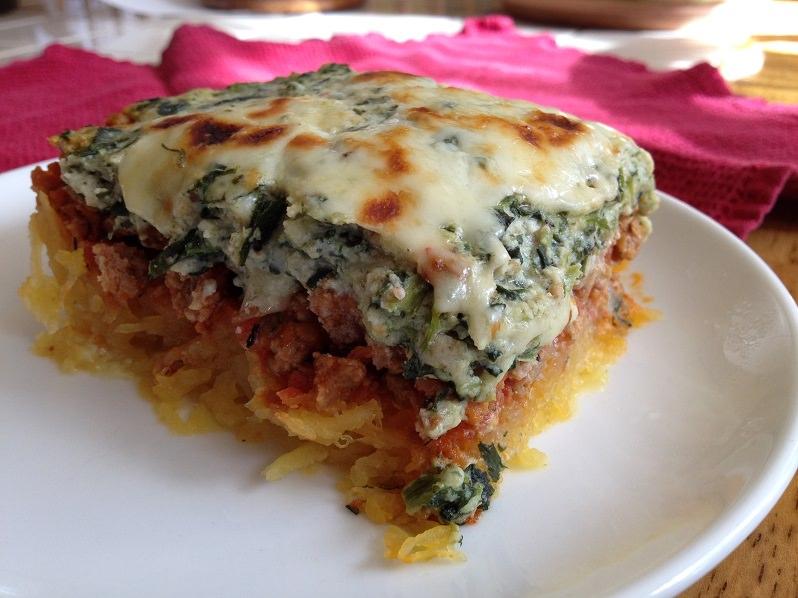 Spaghetti Squash, Sausage and Spinach Lasagna recipe | Grabbing the Gusto