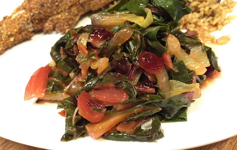Braised Rainbow Chard with Dried Cranberries | Grabbing the Gusto