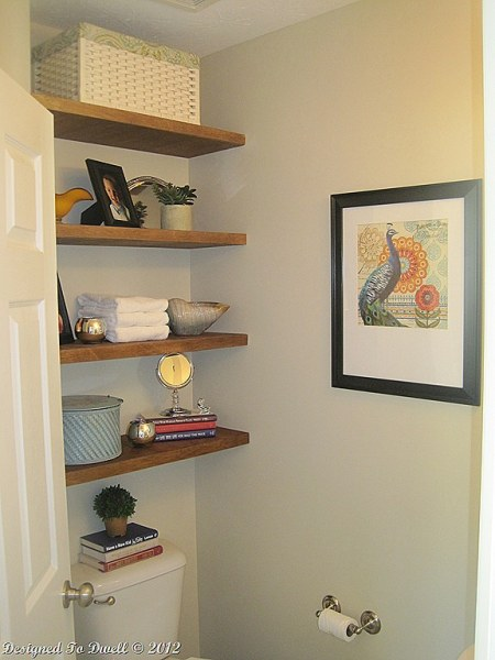 small bathroom storage floating shelves over toilet