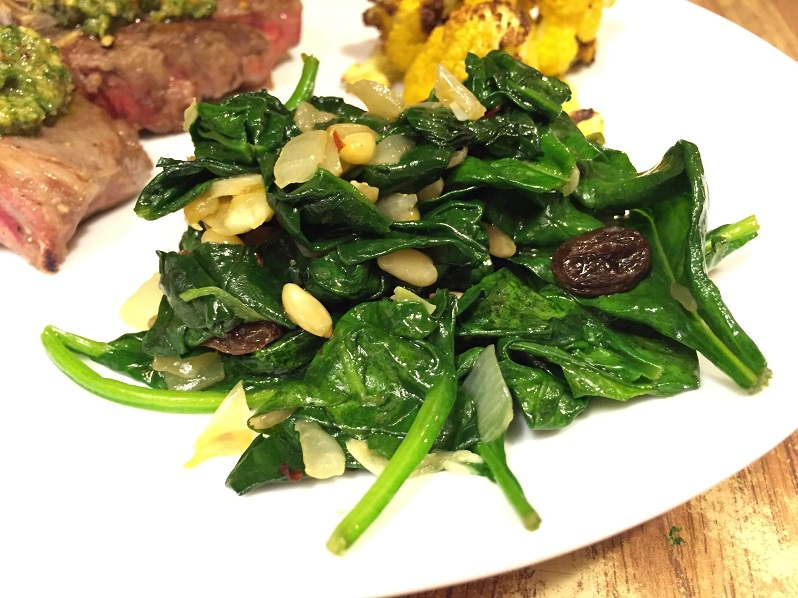 Spinach with Garlic, Raisins and Pine Nuts recipe | Grabbing the Gusto