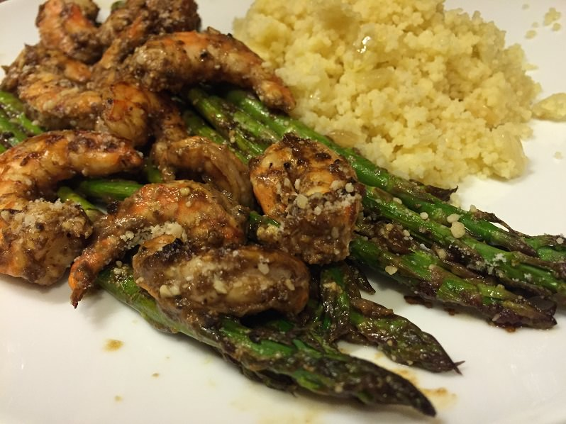 Roasted Shrimp and Asparagus with Black Garlic and Lemon