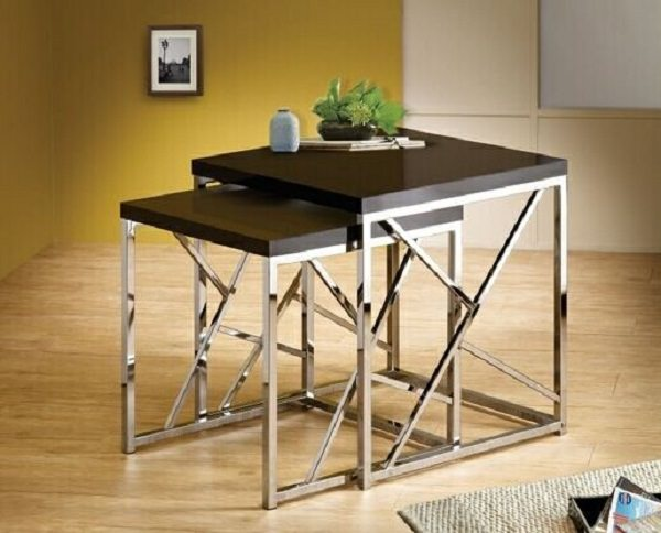 AMB Furniture black & chrome nesting tables - small space furniture