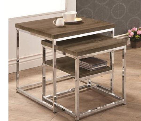Classy Home grey metal and wood nesting tables - small space furniture