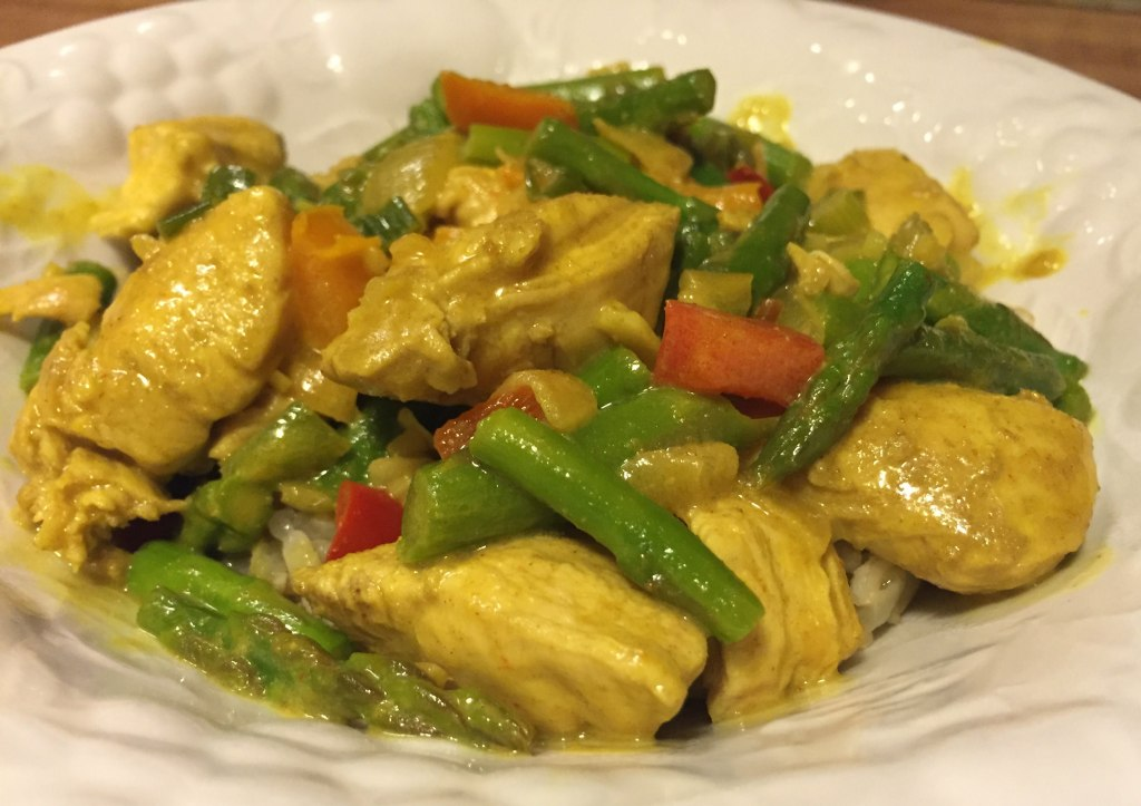 Indian style chicken and asparagus