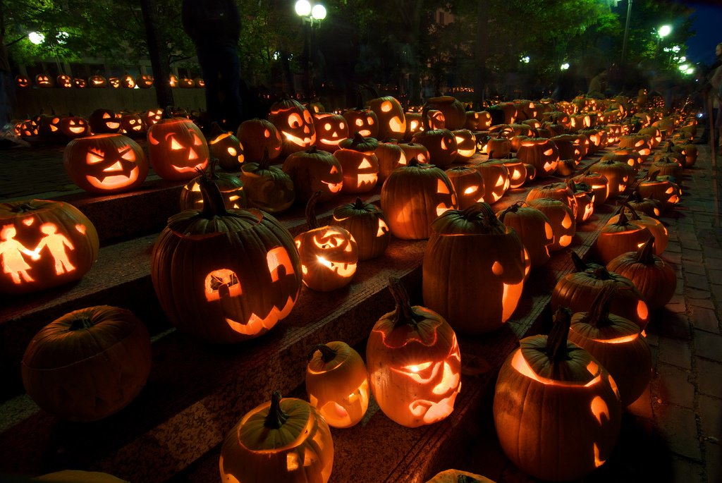history of Halloween - jack o'lanterns all over