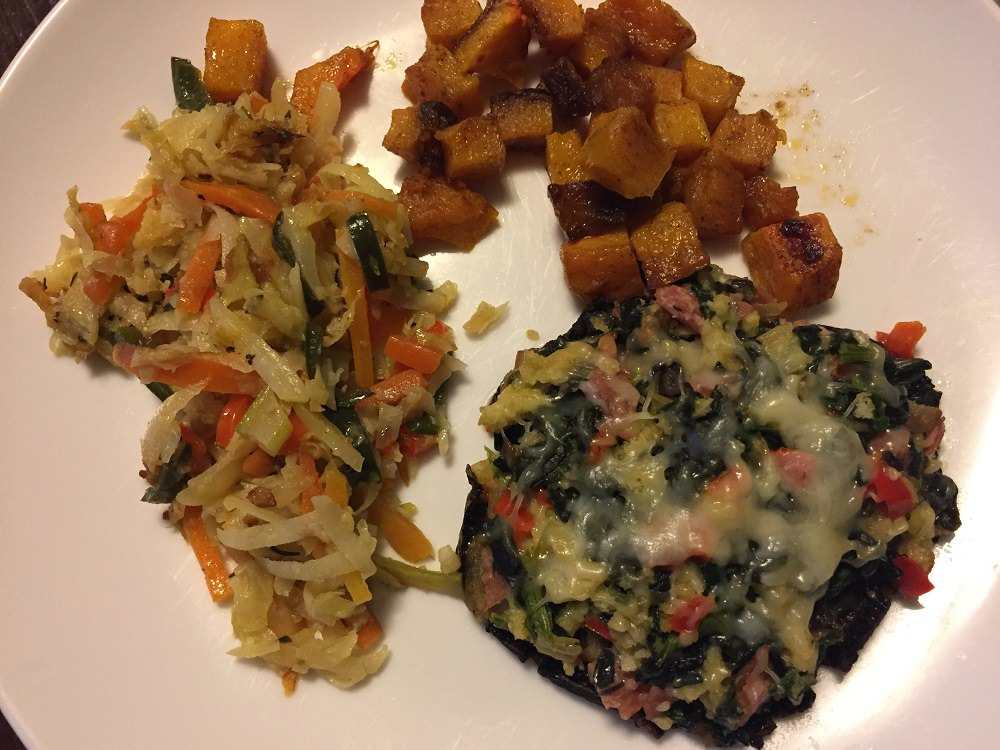 spinach stuffed portobello mushroom, kohlrabi parmesan and roasted butternut squash