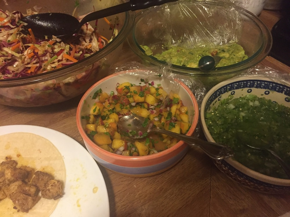Recipes and menu ideas for dogfish taco night with peach salsa, salsa verde, squash calabacitas