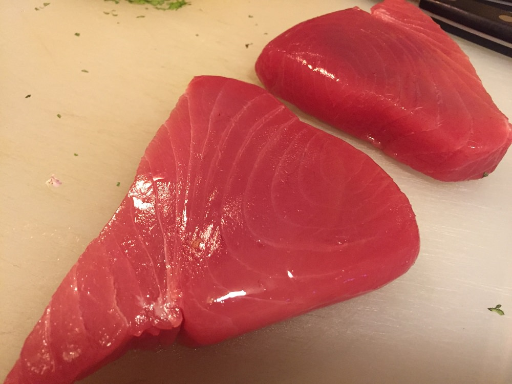 Recipes and menu ideas for a summer Indian dinner, yellowfin tuna, peach andouille basil flatbread and blackened amberjack (or other hearty fish).