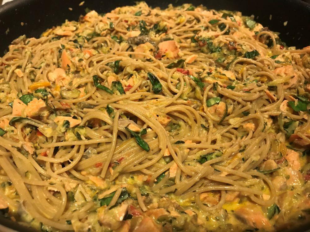 salmon lemon zucchini spaghetti
