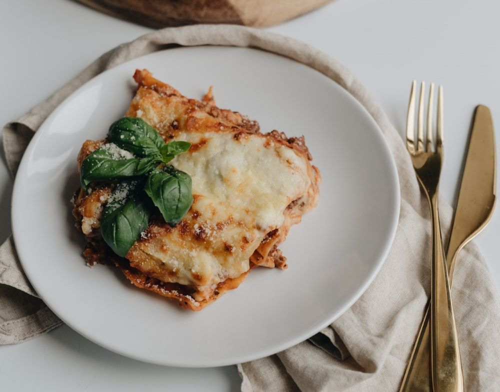 Lasagna ready to serve - inspiration for menu ideas and recipes for lasagna, broccoli, swordfish, butternut squash, and green beans