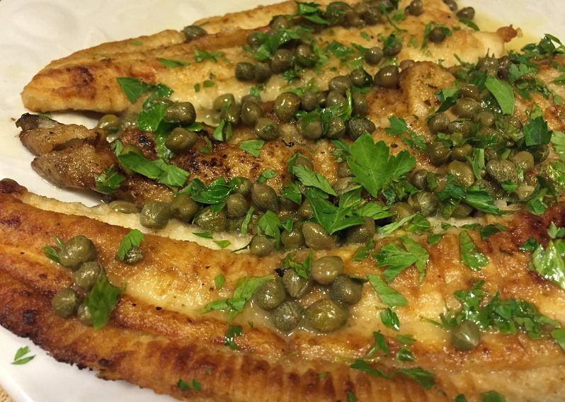 flounder piccata, this person took way too many capers - plus menu ideas and recipes for flounder, lemons, zucchini, black sea bass, oysters, asparagus, and broccoli