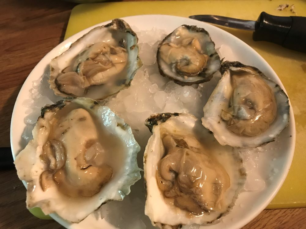 Oysters - Menu ideas and recipes for golden tilefish, chipotle, greens, oysters, ground pork, and asparagus